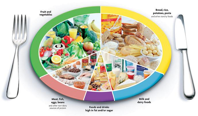 Infographic of plate showing ideal macronutrient balance