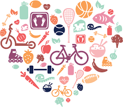 Heart shape comprising food & activities