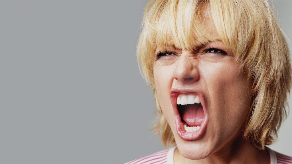 Annoyed woman shouting