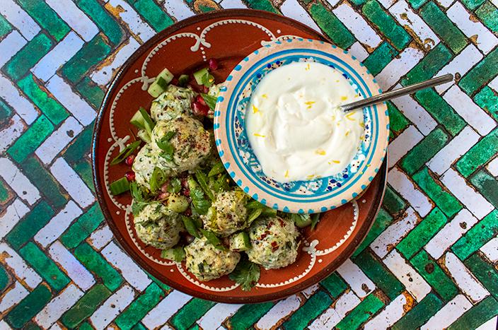 Turkey Courgette Meatballs with Lemony Garlic Yogurt